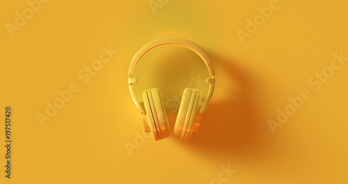 Fotografie, Obraz  Yellow Headphones 3d illustration