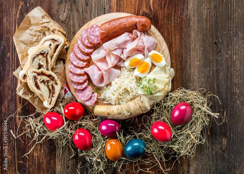 Foto op Canvas Buffet, Bar Brettljausn - Wurst und Käse Platte - Jause