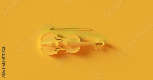 Yellow Violin 3d illustration