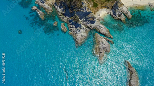 Canvas Prints Turquoise Overhead aerial view of beautiful coastline