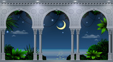 A Balcony Of A Fabulous Palace In Oriental Style With A View Of The Tropical Night Landscape. Vector Graphics