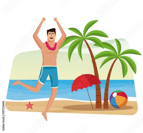 Fotobehang Draw Happy man at beach vector illustration graphic design