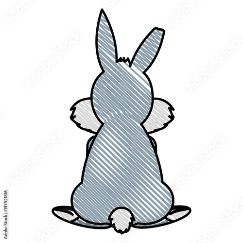 doodle wild rabbit animal back with nice tail Poster