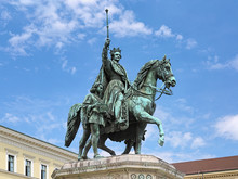 "Equestrian Statue Of Ludwig I, King Of Bavaria, On The Odeonsplatz In Munich, Germany. The Statue Was Unveiled In 1862. The German Word On The Plaque In Hands Of Young Servant Means ""Justice""."