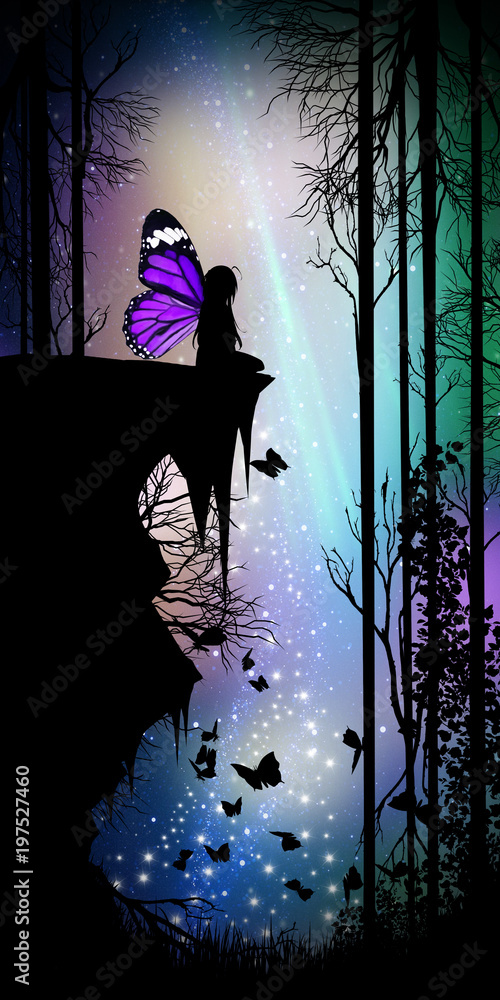 Fairy night song silhouette art