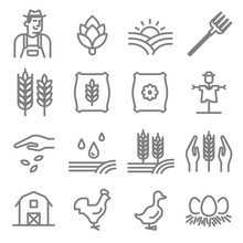 Set Of Agriculture And Farming...