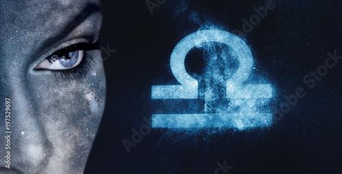 Libra Zodiac Sign. Astrology women night sky background