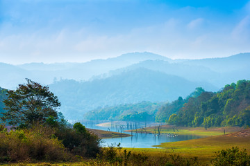 Plakat beautiful landscape at mystical day with mountains and lake, travel background, Periyar National Park, Kerala, India