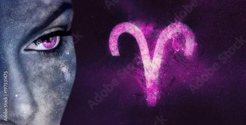 Aries Zodiac Sign. Night sky Astrology women