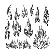 Flame Fire Set Sketch. Black And White Hand Drawn Image.