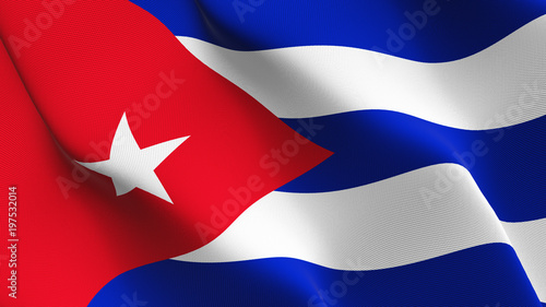 Photo Cuba flag waving loop. Cuban flag blowing on wind.