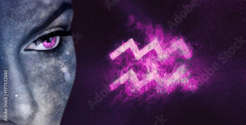 Aquarius Zodiac Sign. Night sky Astrology women