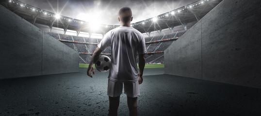 Fototapeta The football player in the stadium