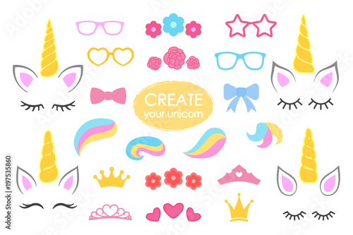 Photo  Create your own unicorn - big vector collection