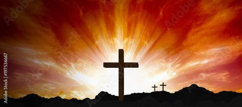 Fotografie, Obraz  Religious Crucifix Sunset