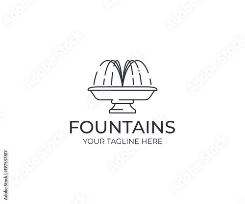 Water jet fountain logo template Fototapete