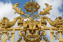 Gold Filigree Gate At Palace Of Versailles, France
