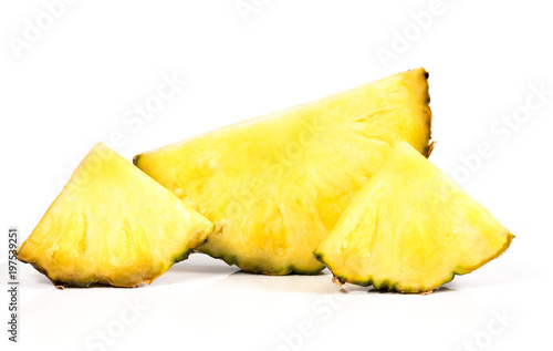 pieces of ananas on a white background
