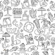 Summer, travel and beach sketch seamless pattern in black and white colors. Travelling hand draw elements with decoration on white background. Palm, summer pattern