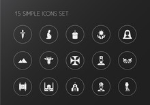 Set Of 15 Editable Faith Icons...