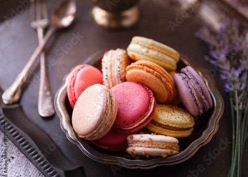 Foto auf Gartenposter Macarons Still Life of Macarons in Antique Setting