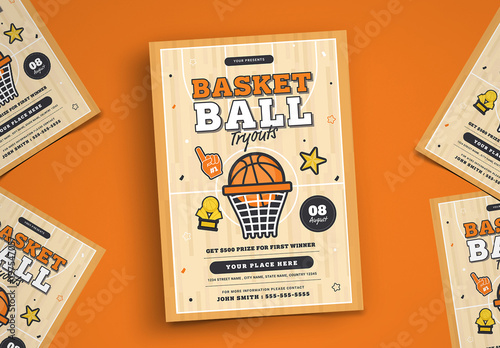 basketball tryouts flyer layout buy this stock template and explore