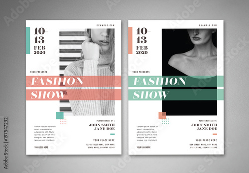 Fashion show flyer layout with geometric elements buy for Buy brochure templates