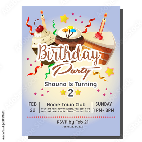 2nd birthday party invitation card with cupcakes buy this stock