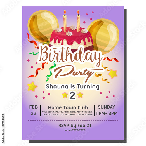 2nd Birthday Party Invitation Card With Delicious Tart Buy