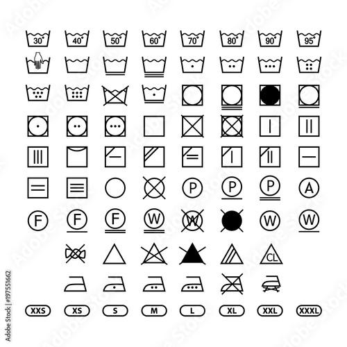 clothing washing label instructions, laundry symbols icon