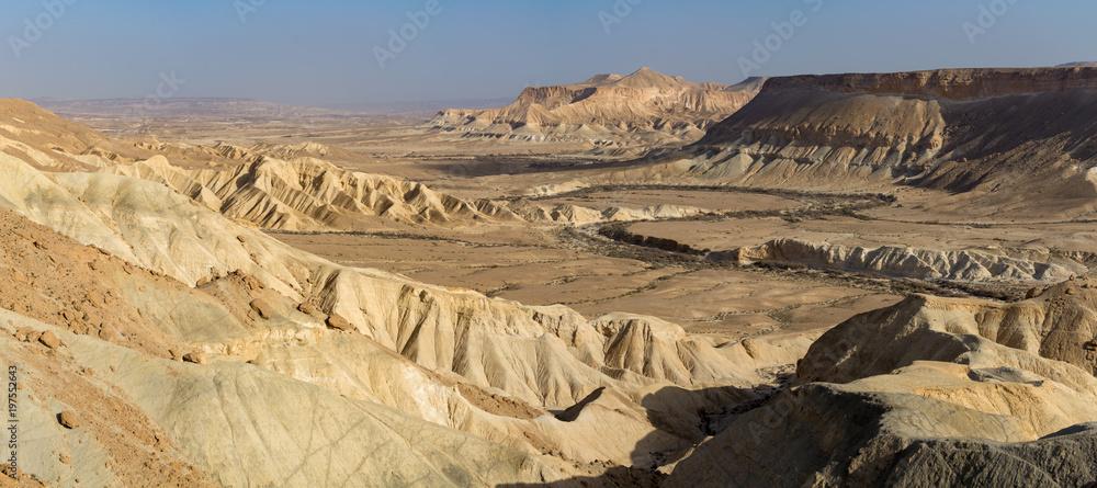 Panoramic view on biggest canyon in Israel Mizpe Ramon in Negev desert