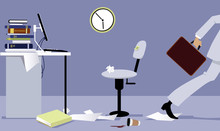 Business Person Leaving His Office Early, EPS 8 Vector Illustration