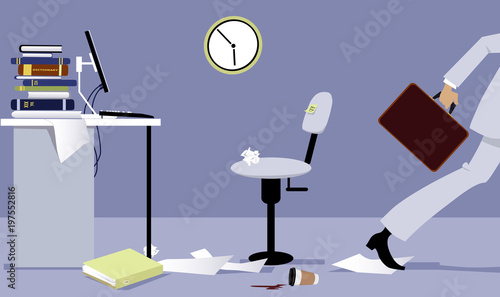 Foto Business person leaving his office early, EPS 8 vector illustration