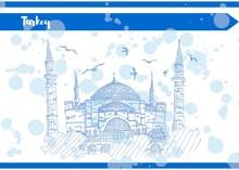 Blue Sketch Postcard Turkey Temple Sophia