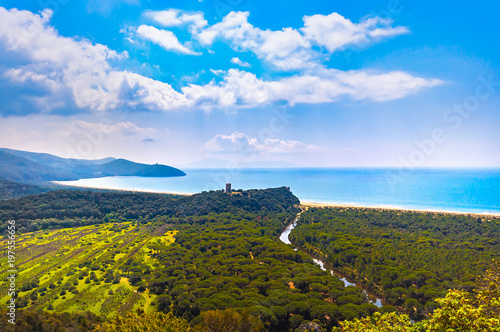 Panoramic view of Maremma Regional or Uccellina Park. Tuscany, Italy.