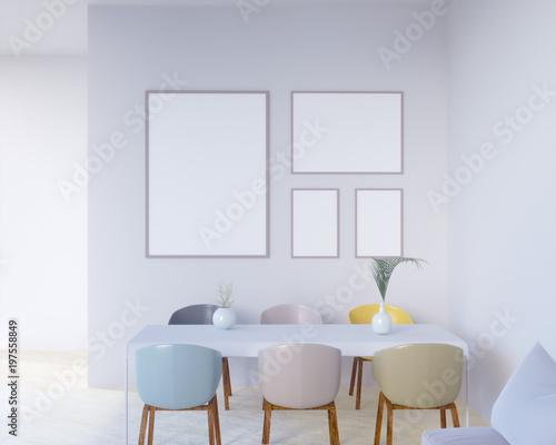 Fototapeta Concept interior, mock up poster on wall, 3d illustration render,  rendering,  retro,  room,  scandinavian,  shine,  studio,  style,  table,   obraz na płótnie