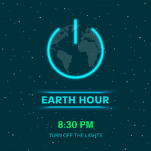 Earth Hour Concept With Neon L...