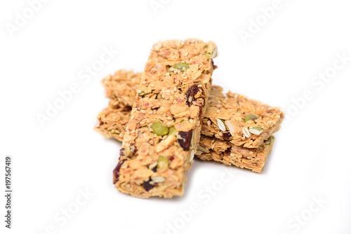 Fotografia Snack bar or energy bar isolated on white background