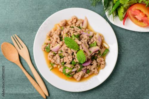 Thai food, spicy minced pork salad (Larb Moo), top view