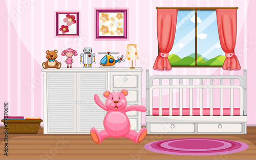 Aluminium Prints Cats Bedroom scene with pink teddybear and white crib