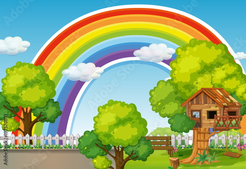 Foto  Background scene with rainbow and treehouse