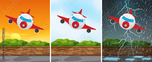 Papiers peints Avion, ballon Three backgrounds with airplane flying