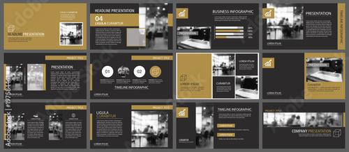 Fototapeta Black gold presentation templates and infographics elements background. Use for business annual report, flyer, corporate marketing, leaflet, advertising, brochure, modern style. obraz na płótnie