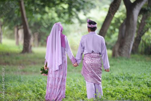 Fotografía  Romantic wedding couple. muslim wedding ceremony