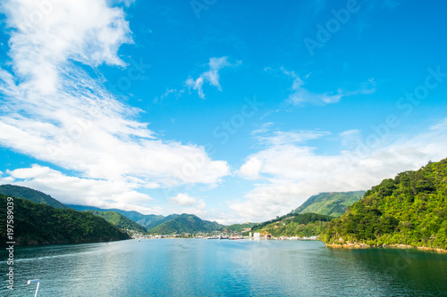 Foto op Canvas Blauwe hemel Beautiful landscape of blue ocean and City of Picton among the green nature.