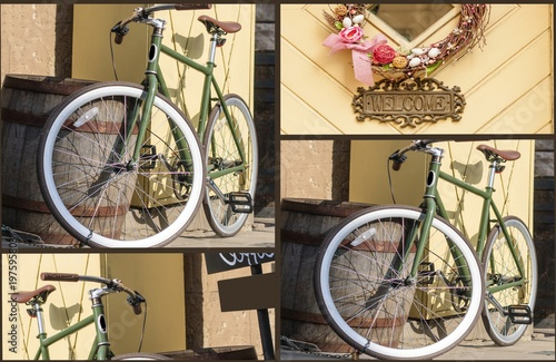 Fototapety, obrazy: Bicycle parked on the street . Bicycle Leaning against a Stone Wall . Happy Easter