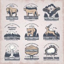 Vintage Colored National Park Emblems Set