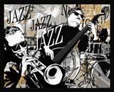 Zespół jazzowy na tle grunge - 197597604