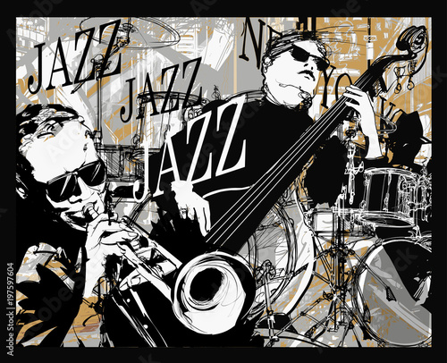Foto auf Leinwand Art Studio Jazz band on a grunge background