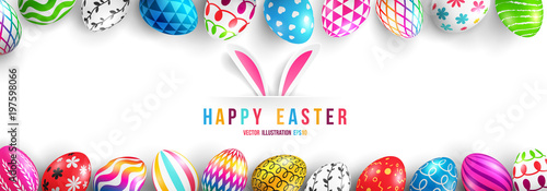Photo  Easter Day Poster or banner template with Colorful Painted Easter Eggs